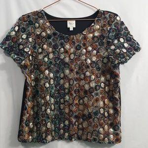 Anthropologie Weston Wear Glace sequin 3D top